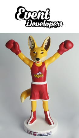 Resin fox mascot figure statue trophy