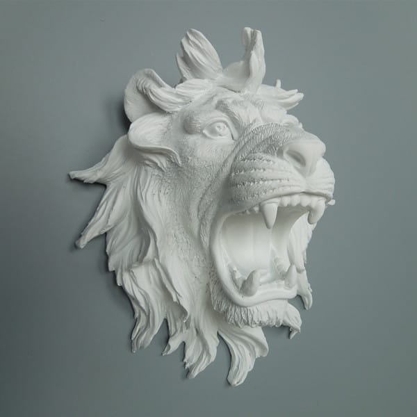 Pure Whiet Resin Polystone Lion Head Wall Decor