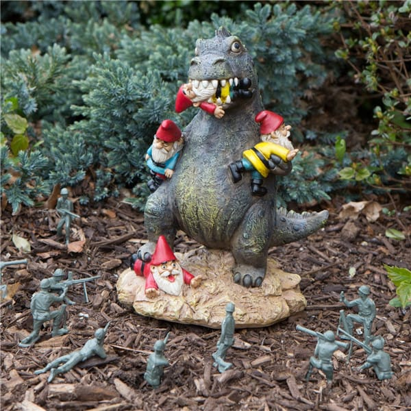 Resin Dinosaur Garden Gnome Massacre ornament