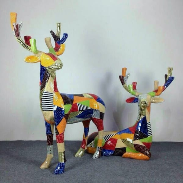 Colorful Artistic Style Fiberglass Life Size Deer Statue