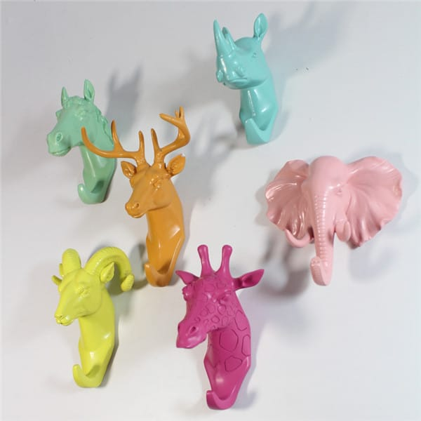 Resin Animal Bust Hanging Wall Hooks