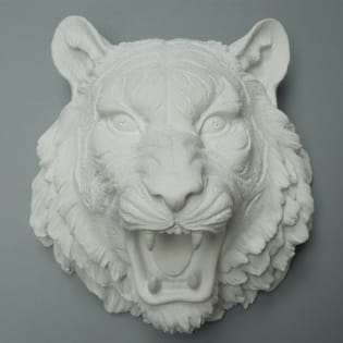 White Resin Tiger Head Sculpture Wall Decor