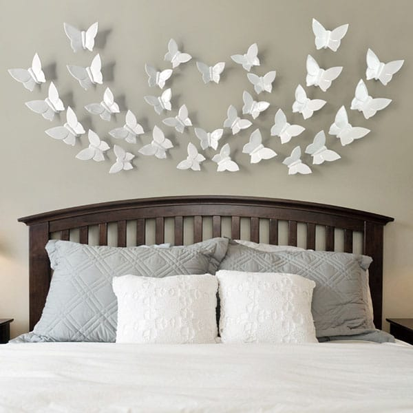 3D Resin White Butterfly Sticker Wall Decor Sticker