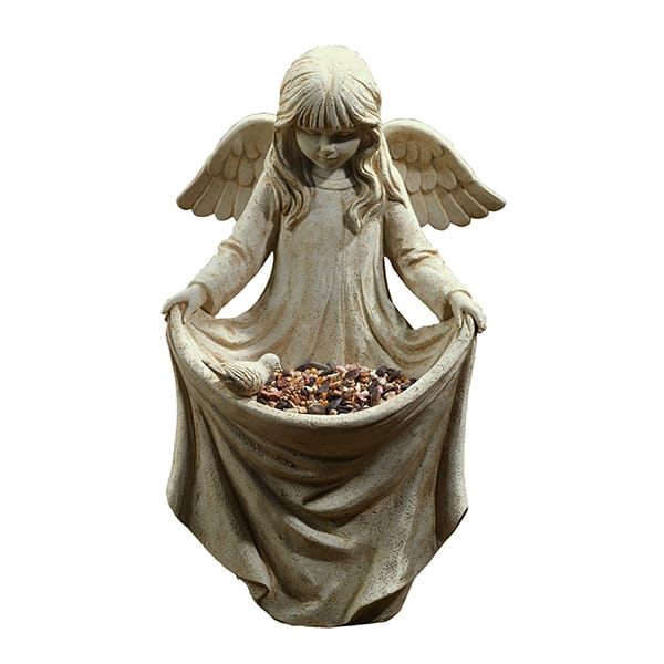 Resin Angel Figure Statue Bird Feeder