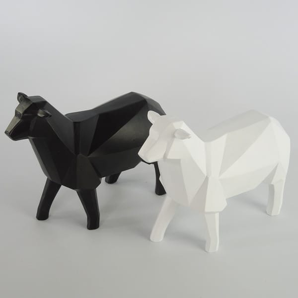 Polygon Interior Decor White Sheep Resin stautes