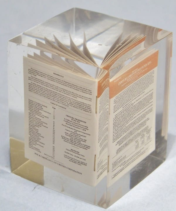 Mini Leaflet Cast Inside Resin Block Paperweight Promotional Gift