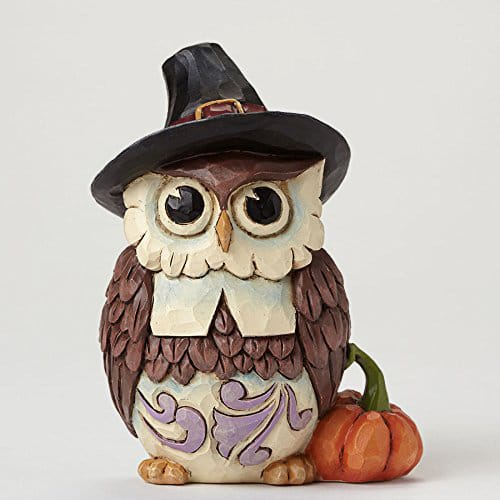 Resin Wood Carved Effect Halloween Owl Figurine