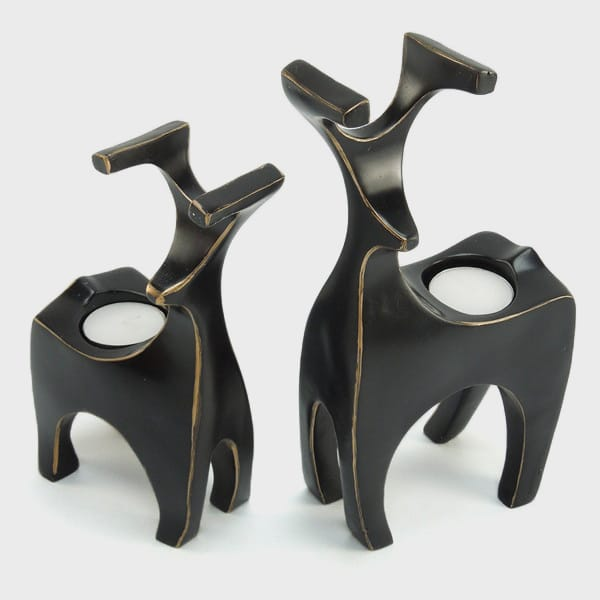 Resin Black Deer Tealight Candle Holders
