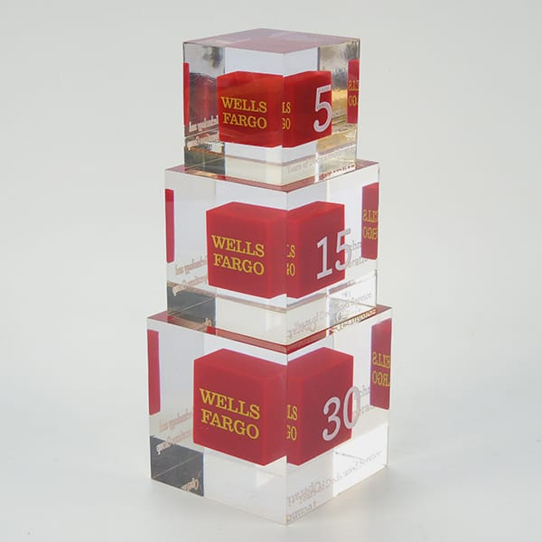 Clear Resin Cube Block Adversting Display