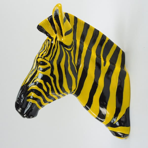 Faux Zebra Head Wall Sculpture Decor