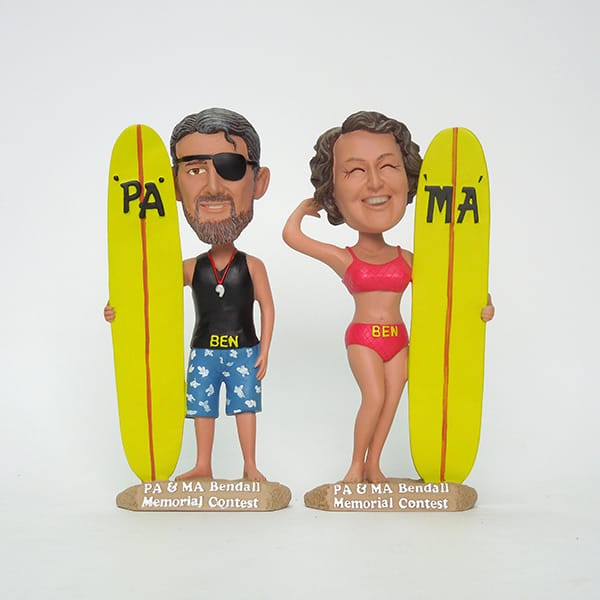 Customized Resin Surfing Figurine Bobble Heads Figures