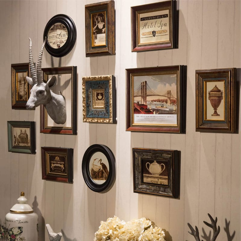 Wall hanging Wood Photo Frame Collage Set