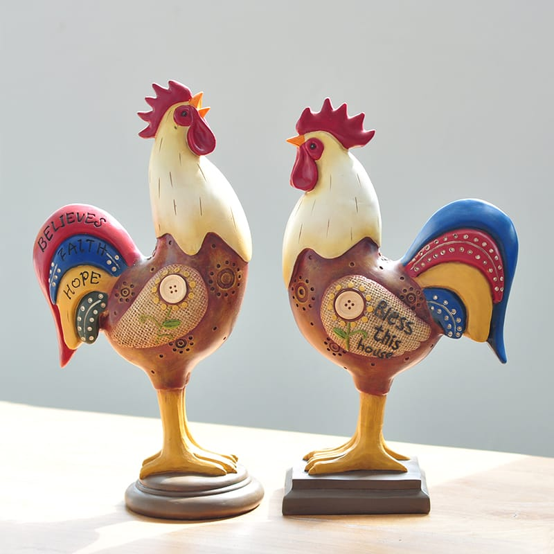 Colorful Hand Paint Polyresin Rooster Figurine