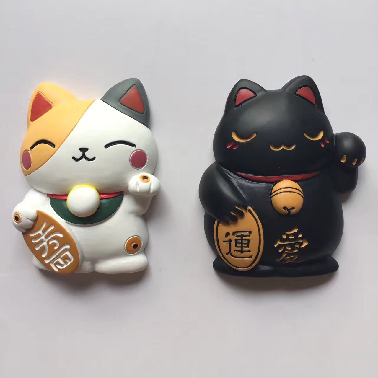 Resin 3D lucky cat fridge magnet cell phone case decor