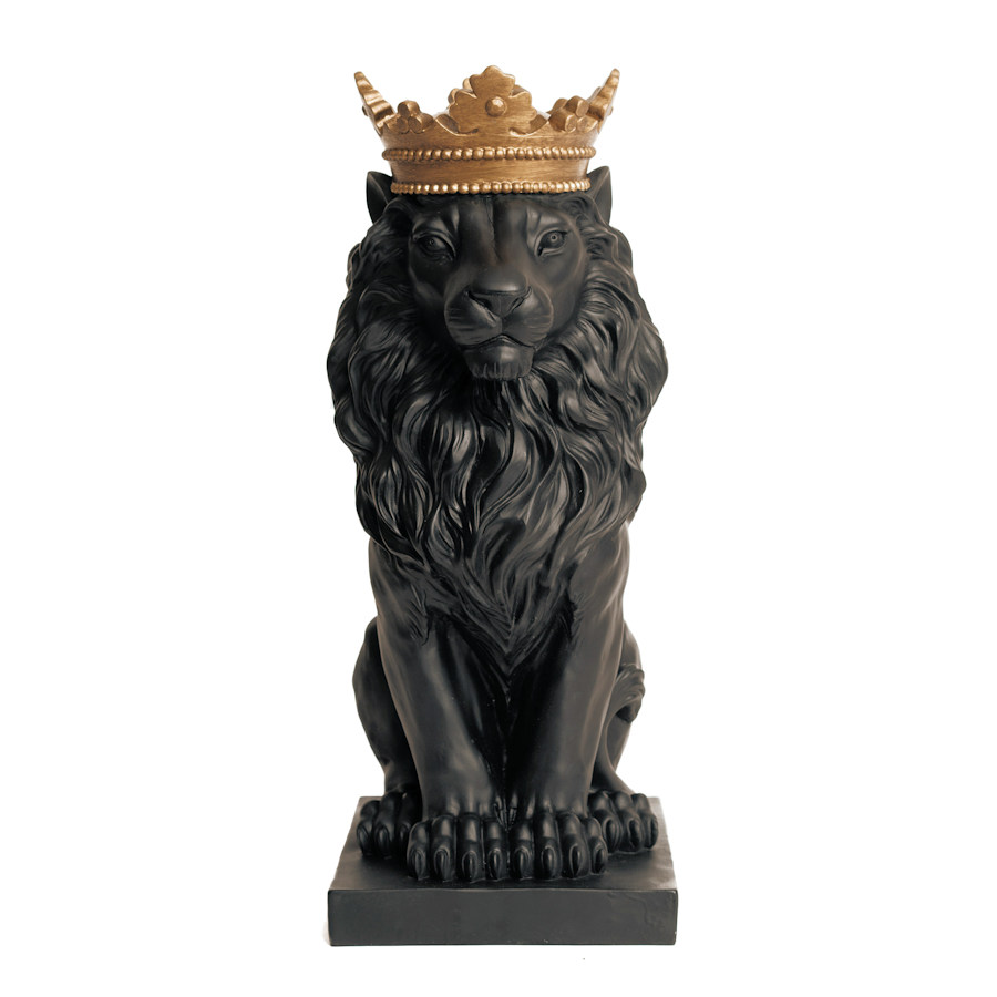 Resin Black Lion Statue W...