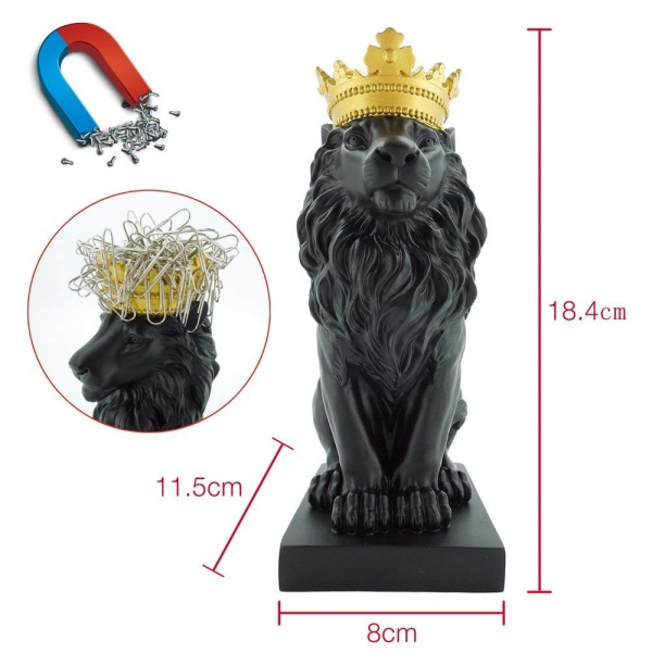 Resin royal crown lion figure shape magentic paper clip holder