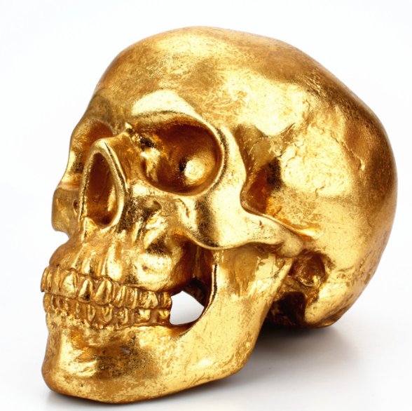 Halloween speicial - Antique golden skull decor piece